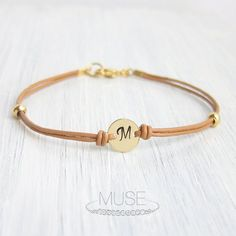 Monogram Leather Bracelet - Personalized Initial Bracelet, Custom Initial Gold Disc, Stacking Bracelet, Friendship Bracelet, Bridesmaid Gift