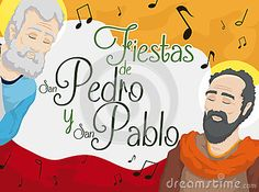 Illustration about Promotional poster with St. Peter and St. Paul celebrating their feast days written in Spanish in Ibague, the Musical Capital of Colombia. Illustration of apostle, cartoon, colombia - 94951469 St Peter And Paul, Musicals, Spanish, Cartoon, Day, Celebrities, Illustration, Poster, Fictional Characters