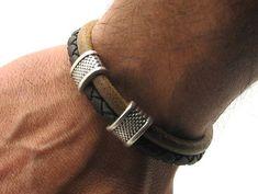 FREE SHIPPING Men's Bracelet. Men Leather Bracelet .Leather bracelets.Natural…