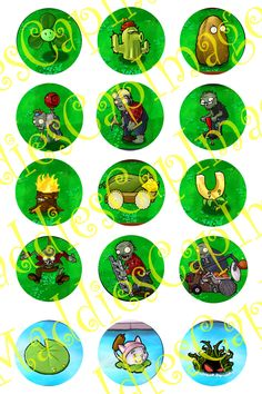 Plants Vs Zombies set 4. $2.00, via Etsy.