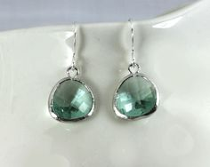 Clear aqua earrings with silver by GojoDesign via Etsy