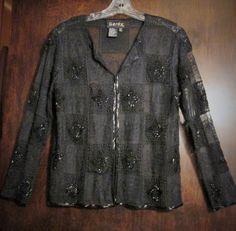 Womens Top Dress Jacket Black Crochet And Bead Designs Size Small   #Gardy #dressjacket #Dressclubbing