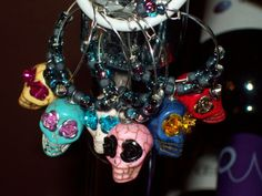 Items similar to Colorful Fiesta Sugar Skull Wine Charms Set - Day of the Dead, Custom, Calavera, Dia de lost Muertos on Etsy Wine Glass Charms, Glass Beads, Day Of The Dead Party, Skull Earrings, Charm Rings, Wine And Beer, Sugar Skulls, Stone Jewelry, Halloween Fun