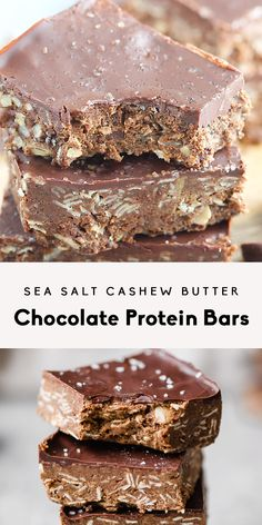 Recipes Snacks Protein Incredible no bake cashew butter chocolate protein bars with a sprinkle of sea salt. These decadent bars make for a delicious post-workout snack and a satisfying treat. Healthy Sweets, Healthy Dessert Recipes, Healthy Baking, Vegan Desserts, Snack Recipes, Heart Healthy Desserts, Healthy Slice, Health Desserts, Brownie Recipes