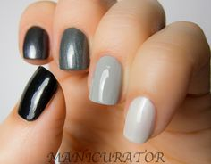 Gray Ombre Nail Look featuring Zoya Nail Polish in Rave, Freja, Tao, Dove and Christinna.