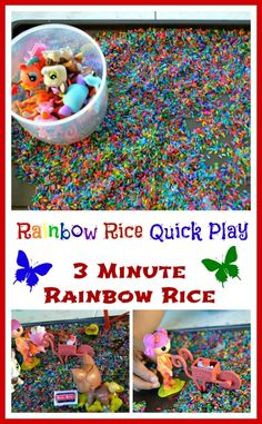 Quick Play Ideas - Rainbow Rice Play with an easy recipe from www.blogmemom.com