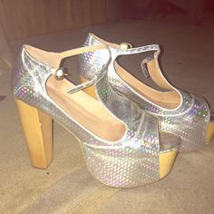 Jeffrey Campbell Hologram Foxy Must go! Size 9. Worn once. Really good condition. They just sit on my shoe rack! Actually looking for these in black, so if you have these or know someone that does please let me know & share their page below!  thanks! Jeffrey Campbell Shoes Platforms