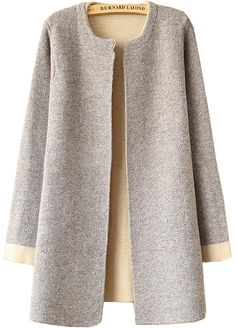 Shop Plain Loose Knit Grey Cardigan at ROMWE, discover more fashion styles online. Cardigan Gris, Long Grey Cardigan, Cardigan Fashion, Hijab Fashion, Winter Coats Women, Coats For Women, Embroidery On Clothes, Fashion 2020, Fast Fashion