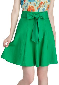 Musee Rodin Skirt - Green, Solid, Casual, A-line, Mid-length, Exclusives, Belted, Best Seller, Daytime Party, Fit & Flare, Work, Variation, Pinup, Basic