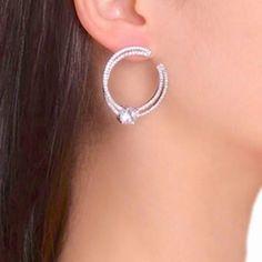 Cubic Zirconia Open Hoop Earrings in Silver. Trendy Formal Occasion Earrings for Weddings, Proms and Pageants. Cz Diamond Hoops Czech Diamonds 18k Platinum Pla