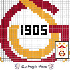 Galatasaray crochet blanket pattern; c2c, knitting, cross stitch graph; pdf