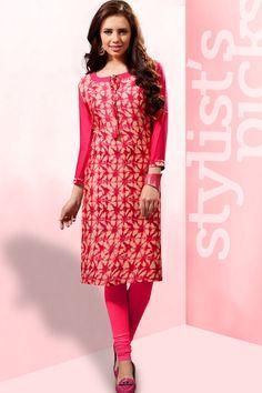 Pink simple printed reyon casual wear kurti 372