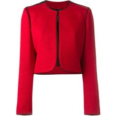 Lanvin Cropped Blazer (10.870 RON) ❤ liked on Polyvore featuring outerwear, jackets, blazers, red, lanvin jacket, red blazer, lanvin blazer, lanvin and cropped jacket
