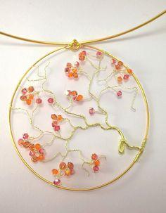 Collier ras du cou pendentif arbre de vie perles cristal Swarovski-pendentif fleur perles couleurs d'automne : Collier par bouclesetpoesie