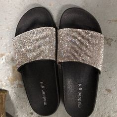 Shop Women's Madden Girl Black Silver size 8 Sandals at a discounted price at Poshmark. Description: Very bling, zero missing stones, never worn. Glitter Slides, Bling Sandals, Bling Bling, Girls Shoes, Black Silver, Color Black, Kicks, Products, Sandals