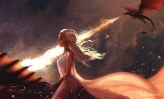 """queen-daenerystargaryen: """" Daenerys and her dragons, by Skadivore. Daenerys Targaryen Art, Khaleesi, Deanerys Targaryen, Serie Got, Breathing Fire, The Mother Of Dragons, Manga Anime, Game Of Thrones Art, Marvel"""