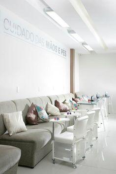 Manicure e peticure nail shop poltrona iluminação salão de beleza salon
