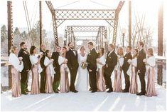 Downtown Missoula Winter Wedding via Rocky Mountain Bride Winter Mountain Wedding, Snowy Wedding, Winter Wedding Ceremonies, Wedding Ceremony, New Year's Eve Celebrations, Winter Destinations, Winter Wedding Inspiration, Rocky Mountains, Real Weddings