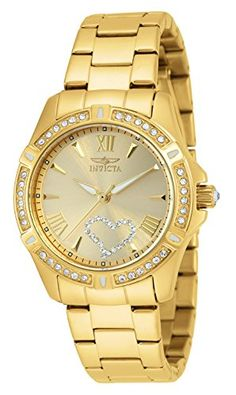 Invicta Womens 21384 Angel CrystalAccented 18k Gold IonPlated Stainless Steel Watch ** Want additional info? Click on the image.