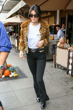 Kendall Jenner rocks fur and cheetah print while out in LA on October 12. Cheetah girls, cheetah sistas.