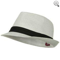 Solid Band Summer Straw Fedora - White Black W20S58B