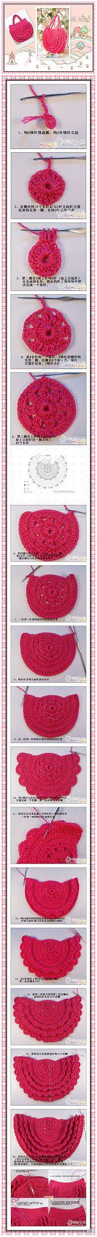 Crochet bag girl sweets 55 ideas for 2019 Crochet Diy, Crochet Motifs, Crochet Handbags, Crochet Purses, Knit Or Crochet, Crochet Crafts, Crochet Stitches, Crochet Projects, Crochet Patterns