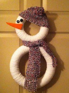 Snowman Wreath by AdornYourDoorAndMore on Etsy, $50.00 by sylvia
