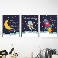 Boys Room Decor Make A Coffee Can Herb Garden If you drink a lot of coffee, you probably have quite Outer Space Nursery, Space Themed Nursery, Nursery Themes, Boy Wall Art, Nursery Wall Art, Nursery Decor, Wall Decor, Etsy App, Outer Space Decorations