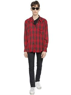 RAW CUT CHECKED VISCOSE WESTERN SHIRT