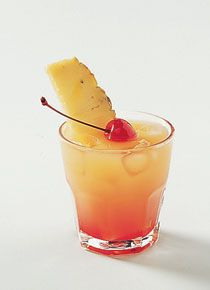 """A Day at the Beach"" recipe: 1 oz coconut rum, 1/2 oz amaretto almond liqueur, 4 oz orange juice, 1/2 oz grenadine syrup. Shake rum, amaretto, and orange juice in a shaker filled with ice. Strain into a highball glass over ice. Add grenadine and garnish with a pineapple wedge and a strawberry. I love this Coctail!!"