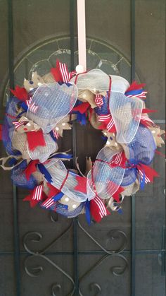 A personal favorite from my Etsy shop https://www.etsy.com/listing/451221398/patriotic-wreath-4th-of-july-wreath