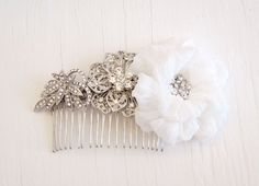 Rhinestone Bridal Hair Comb Silk Chiffon Flower available in ivory and natural white Handmade by ForeverHookedDesign, $78.00