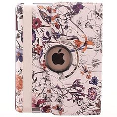 Curving Flower Vine Pattern 360 Degree Rotating PU Leather Case & Stand for iPad 2/3/4  – CAD $ 19.17