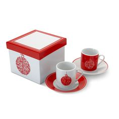 4 piece espresso set including 4 cups and 4 saucers with Christmas pattern decoration. Presented in matching gift box. Coffee Gift Sets, Coffee Gifts, Espresso Coffee, Coffee Cups, Best Espresso Machine, Popular Drinks, Coffee Varieties, Shops, How To Make Coffee