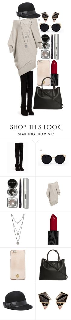 """1019-3 fashion dress"" by frontrowshop ❤ liked on Polyvore featuring Nly Shoes, Una-Home, Bobbi Brown Cosmetics, Vince Camuto, Tory Burch, Prada, Bebe and Nak Armstrong"