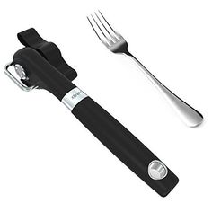 Can Opener with a Fork XBNIAO: Professional smooth edge can opener effortless manual handy stainless steel can opener with easy turn knob safe for childrenbrbr Features:/bbr Camping Cakes, Porcelain Mugs, Kitchen Supplies, Stainless Steel Material, Kitchen Dining, Kitchen Utensils, Can Opener, Fork, Safe Food