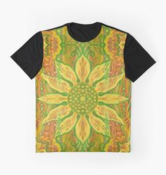 """""""Sun Flower, bohemian floral pattern, yellow, green & orange"""" Graphic T-Shirts by clipsocallipso 