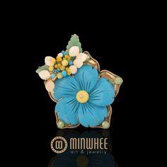 터키석꽃 브로치 - 고품격 수공예 주얼리 민휘아트주얼리 MINWHEE ART JEWELRY