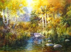 Autumn at the Creek , Watercolor painting of Duck Creek on Cedar Mountain - Watercolor Paintings by Roland Lee