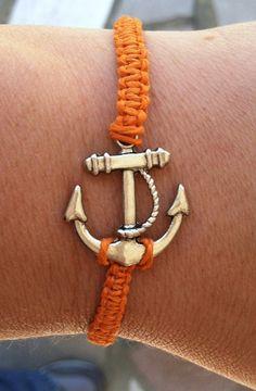 Bright Orange Anchor Bracelet by krystleskrafts on Etsy, $4.50