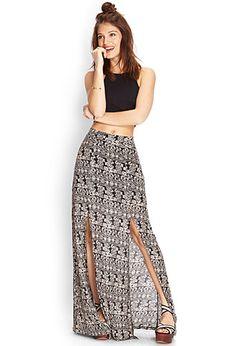 Printed Double-Slit Maxi Skirt   FOREVER21 - 2000062065