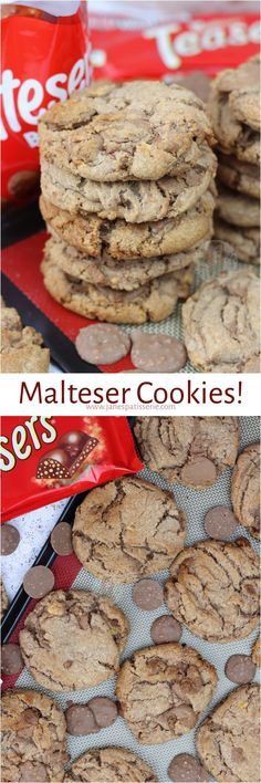 Gooey, Crunchy and Delicious Malteser Cookies with Malteser Buttons and Maltesers! Delicious Cookie Recipes, Baking Recipes, Sweet Recipes, Yummy Treats, Sweet Treats, No Bake Treats, No Bake Desserts, Dessert Recipes, Janes Patisserie