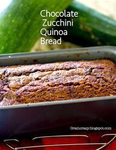 Crazy: Moist Yummy Chocolate Zucchini Quinoa Bread (Gluten Free) Great way. -Grain Crazy: Moist Yummy Chocolate Zucchini Quinoa Bread (Gluten Free) Great way. Healthy Baking, Healthy Desserts, Healthy Recipes, Foods With Gluten, Sans Gluten, Gluten Free Baking, Gluten Free Recipes, Quinoa Zucchini, Zucchini Bread
