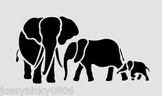 Elephant stencils that could be transferred to wood planks, the wall, or on fabric in an embroidery hoop. I was thinking of Christmas ornaments. Elephant Stencil, Elephant Quilt, Animal Stencil, Elephant Art, Stencil Art, Stenciling, Elephant Family, Stencil Templates, Stencil Patterns