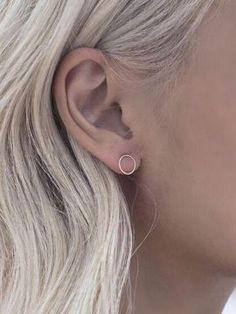 Silver Circle Stud Earrings