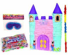 "Princess Castle Pinata Party Kit Including Pinata, 3lb Candy and Toy Fillers, Buster Stick, and Blindfold by Aztec Imports. $29.99. Pinata measures 21""x15""x4"". Kit includes 1 Princess Castle Pinata, 1 Pinata Filler, 1 Buster Stick and 1 Blindfold. Ready to play the pinata party game!. Pinata filler comes with 3 lbs of candy and toys. Wooden buster stick is 18"" long. Includes (1) 21""x15""x4"" Princess Castle Pinata, (1) Pinata Filler Bag with 3lb. of candy and toy..."