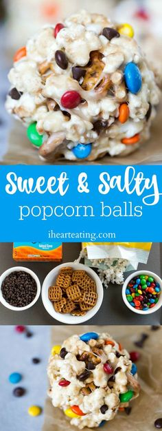 Sweet & Salty Popcorn Balls are a yummy combo of sweet & salty in an easy-to-make marshmallow popcorn ball treat! Great for snacks, dessert, or a road trip! Perfect Halloween treat!