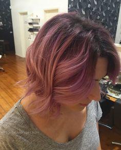 Pastel pink balayage textured lob hair