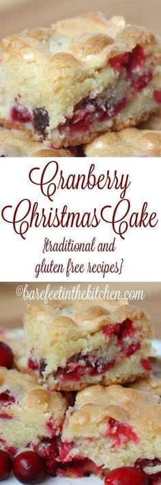 Cranberry Christmas Cake is like no other cake you've ever tasted! Stash those cranberries in the freezer, because you're going to want to make this one all year long. Get the recipe at barefeetinthekitchen.com