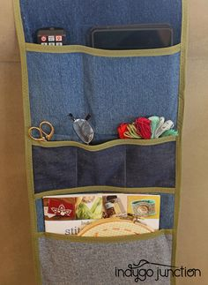 "Don't forget that the ""wrong side"" of the denim often has a great color to coordinate with the right side. Mix them together in the same project as we did with this pillow from Indygo Junction's Sort Your Stuff Organizer pattern $9.99"